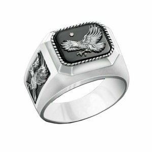 Mens Fashion Statement Ring Size 7 Eagle Silver